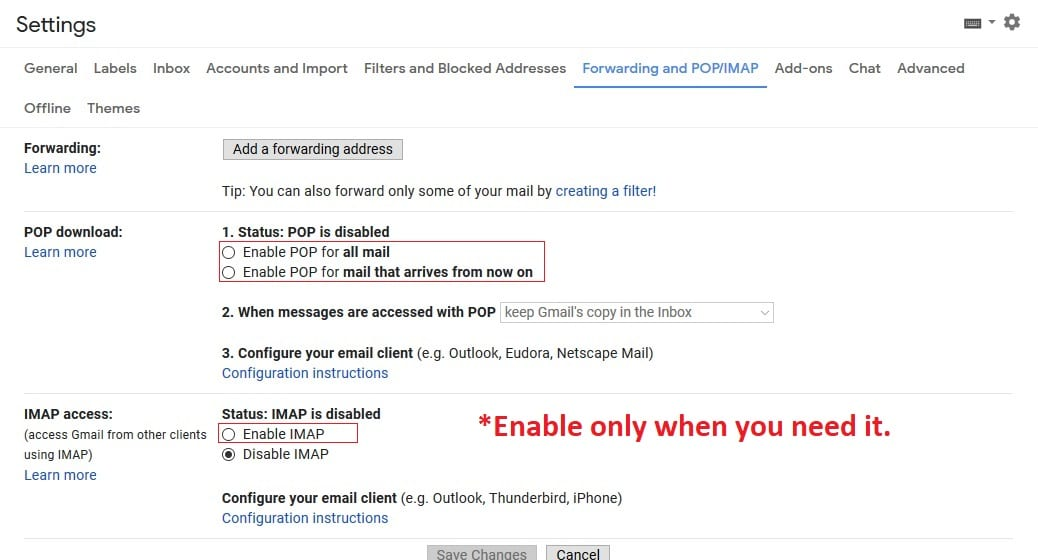 POP and IMAP settings for Gmail